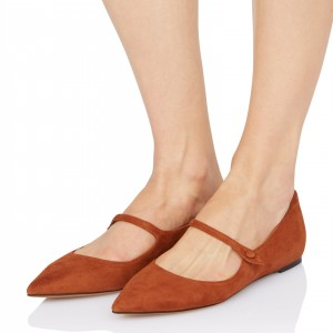 Tan Mary Jane Shoes - Chaussures vintage en daim - Chaussures à bouts pointus
