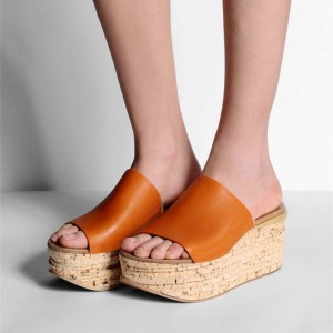 Orange Cork Platform Sandals Open Toe Summer Mules US Size 3-15