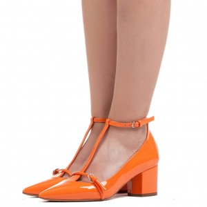 Talons pointus orange pour femmes Pointy Toe Chunky Heels Pumps