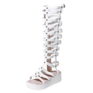 Women's White Rivets Wedge Heels Gladiator Sandals by FSJ Shoes