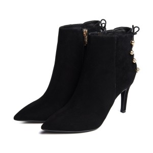 Black Stiletto Boots Suede Pointy Toe  Ankle Booties with Studs