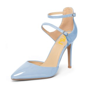 Light Blue Closed Toe Sandals Ankle Strap Stiletto Heels Shoes