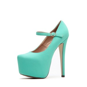 Turquoise Mary Jane Pumps Platform High Heel Shoes