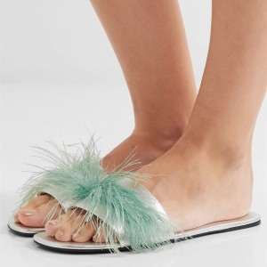 Turquoise Women's Slide Sandals Open Toe Furry Flat Sandals