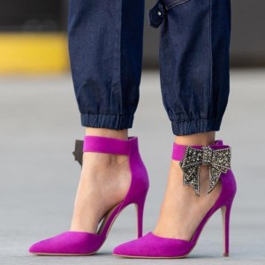 Violet Suede Pointy Toe Bow Ankle Strap Heels Pumps