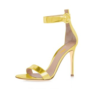 Women's Golden Metal Leather Stiletto Commuting Heel Ankle Strap Sandals