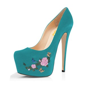 Teal Shoes Floral Print Chunky Heel Suede Platform Pumps by FSJ