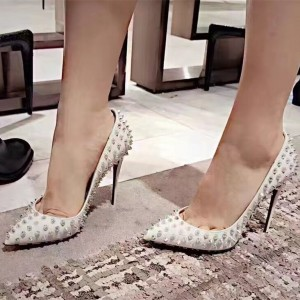 Goujons blancs Chaussures à bout pointu Pointes Spike Stiletto Heel Pumps Taille US 3-15