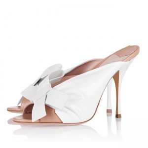 White and Blush Two Tone Mule Heels Peep Toe Bow Stiletto Heels