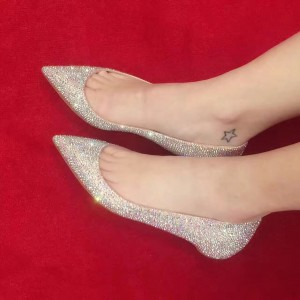 Blush Pointy Flats Toe Strass confortable chaussures scintillantes
