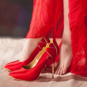 Women's Red Wedding Shoes Pointed Toe Stiletto Heels Pumps