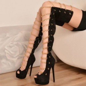 Black Gladiator Heels Peep Toe Thigh High Platform Summer Boots