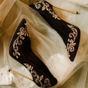 Black and Gold Wedding Heels Embroidered Rhinestone Pumps