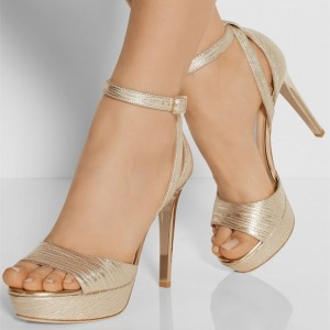 Champagne Prom Shoes Ankle Strap Platform Sandals