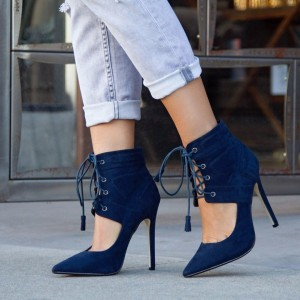 Navy Lace up Heels Cut out Summer Booties Stiletto Heel Suede Shoes