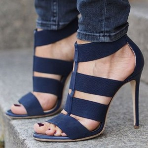 Navy Suede Vegan Shoes Elastic Strap Open Toe Stiletto Heel Sandals