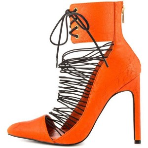Women's Orange Stiletto Heels Sandals Strappy Lace Up Summer Boots