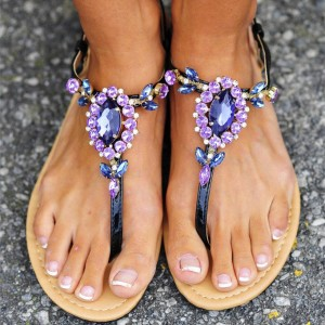 Thong Purple Jeweled Sandals Sandales de plage d'été plat US taille 3-15