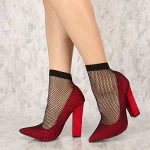 Rouge Chunky Talons Pointu Toe Sexy Mesh Pompes US Taille 3-15