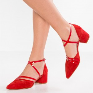 Croix rouge sur les chaussures Chunky Talons Pointy Toe Vintage Chaussures