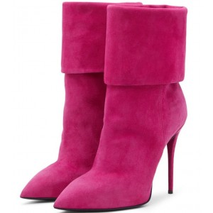 Women's Suede Orchid Stiletto Heels Pointy Toe Ankle Fashion Boots