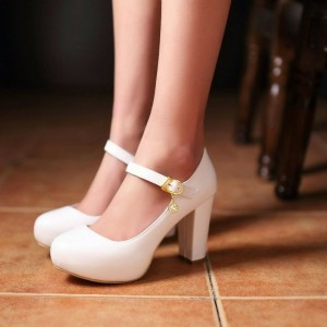 White Mary Jane Pumps Vegan Platform - Chaussures à talons épais