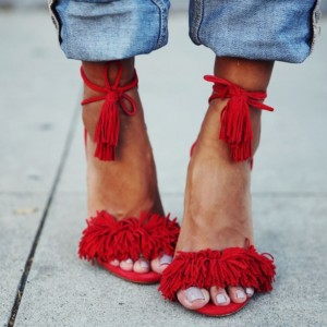 Red Fringe Sandals Tassels Strappy Heels