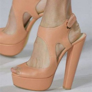 Blush Cut out Chunky Heel Sandals Peep Toe Slingback Platform Sandals