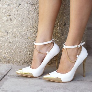 White and Gold Ankle Strap Heels Pointy Toe Pumps Stiletto Heels