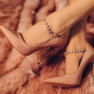 Blush Wedding Heels Pointy Toe Strass Escarpins à talon aiguille pour demoiselle d'honneur