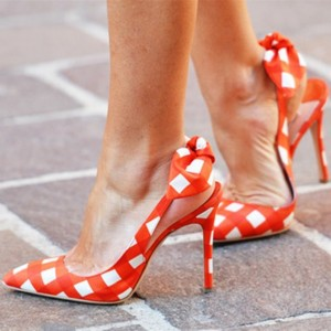 Orange Slingback Pumps Pointy Toe Plaid Chaussures mignons avec noeud
