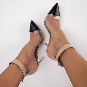 Clear Heels Nude Transparent Ankle Strap Pointy Toe Stiletto Heel Pumps