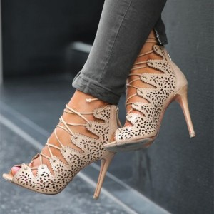 Nude Strappy Heels Hollow out Lace up Sandals Stiletto Heels