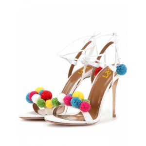 White Pom Pom Shoes Strappy Stiletto Heel Sandals for Wedding