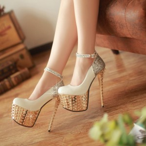Ivory and Gold Stripper Heels Glitter Ankle Strap Platform Prom Shoes