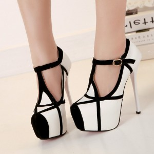 Black and White Heels T Strap Closed Toe Platform Pumps