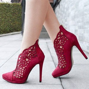 Burgundy Heels Laser Cut Suede Stiletto Heel Platform Ankle Booties