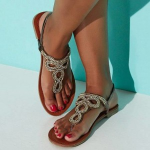 Brown Beaded Thong Sandals Flat Summer Beach Sandals US Size 3-15