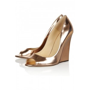 Champagne Metallic Heels Peep Toe Wedge Pumps High Heel Shoes