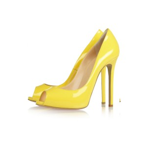 Yellow Peep Toe Heels Patent Leather Stiletto Heels Pumps by FSJ