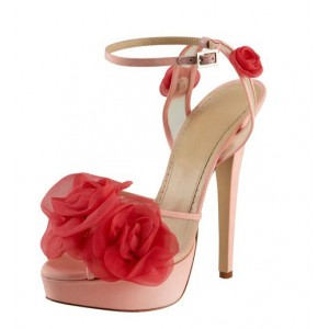 Pink Silk Flowers Peep Toe Mesh Ankle Strap Sandals