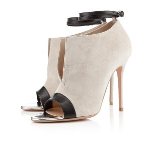 Beige and Black Ankle Strap Stiletto Heel Suede Peep Toe Booties