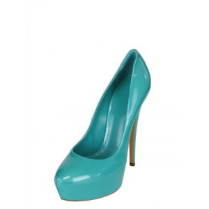Turquoise Heels Patent Leather Platform Chunky Heel Pumps US Size 3-15