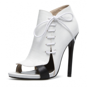 White 5 Inch Heels Side Lace-up Open Toe Stiletto Heel Summer Boots
