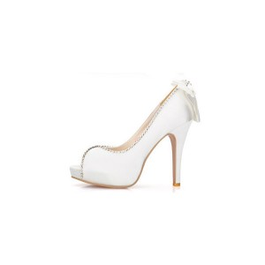 White Bridal Heels Satin Rhinestone Peep Toe Pumps with Bow