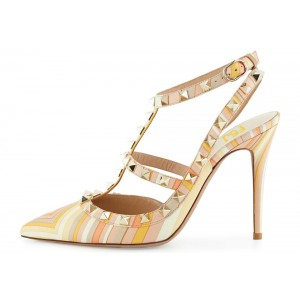Multicolor Stripes T Strap Studs Shoes Stiletto Heel Pumps