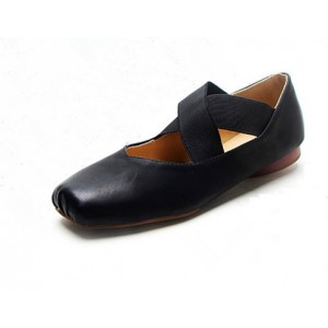 Black Square Toe Ballet Flat Vintage Shoes for Female