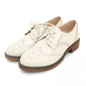 Oxford School Shoes Ivory femmes Vintage Lace up confortable appartements