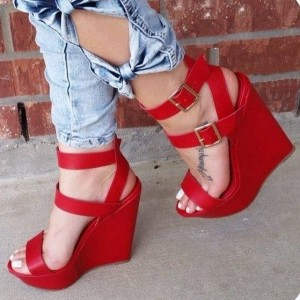 Red Wedge Sandals Open Toe Platform Heels with Buckles by FSJ