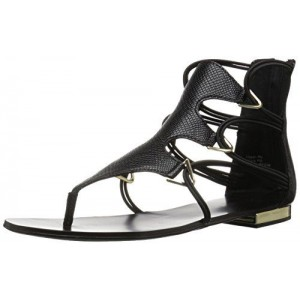 Black Gladiator Sandals Toe-knob Flat Summer Sandals